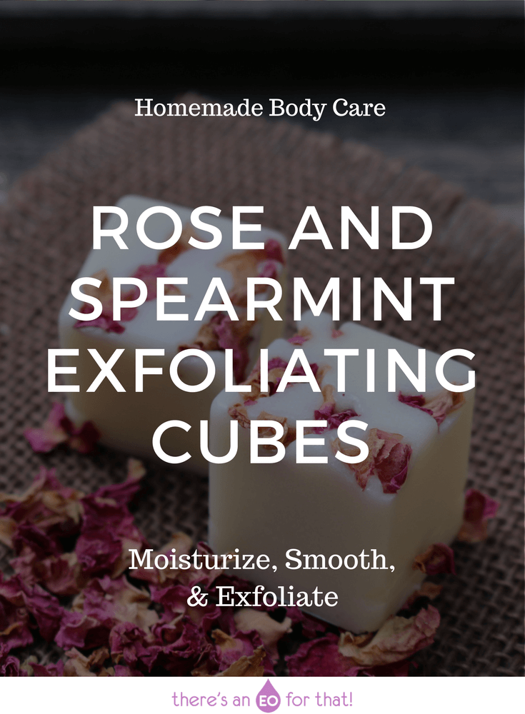 Rose and Spearmint Exfoliating Cubes - Learn how to make single use exfoliating cubes that glide across the skin while sloughing away dead skin cells and moisturizing the new skin underneath.